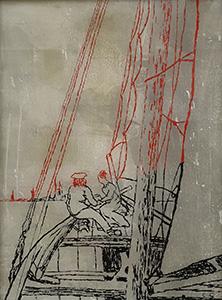 "Carsten Gille, ""Auf dem Segler"", Hinterglasmalerei"